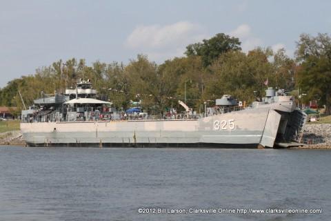LST-325 docked at Clarksville's McGregor Park boat ramp.