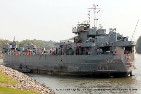 USS LST 325 docking at the McGregor Park Boat Ramp.