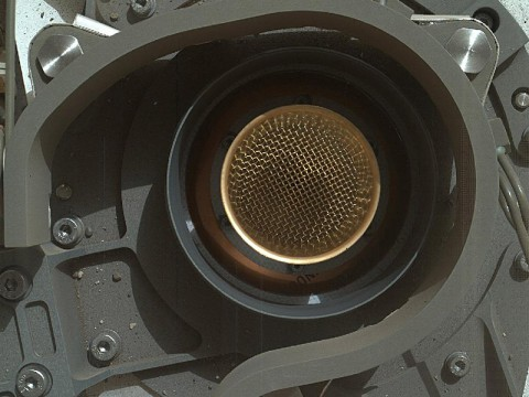 This set of images from NASA's Curiosity rover shows the inlet covers for the Sample Analysis at Mars instrument opening and closing, as the rover continues to check out its instruments in the first phase after landing. (Image credit: NASA/JPL-Caltech)