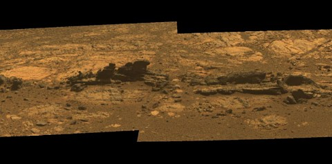 Rock fins up to about 1 foot (30 centimeters) tall dominate this scene from the panoramic camera (Pancam) on NASA's Mars Exploration Rover Opportunity. (Image credit: NASA/JPL-Caltech/Cornell Univ./Arizona State Univ.)