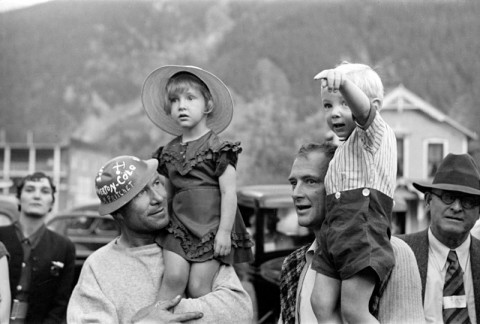 Miners with Their Children, at the Labor Day Celebration, Silverton, Colorado, Russell Lee, photographer, September 1940.