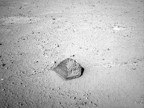 The drive by NASA's Mars rover Curiosity during the mission's 43rd Martian day, or sol, (September 19th, 2012) ended with this rock about 8 feet (2.5 meters) in front of the rover. (Image credit: NASA/JPL-Caltech)