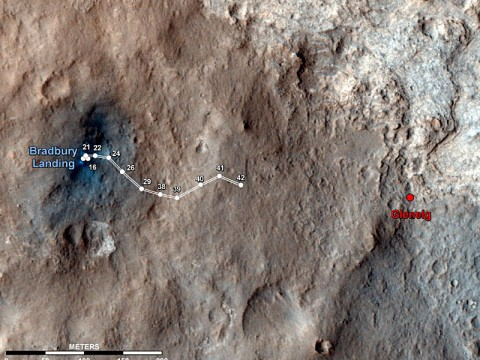 This map shows the route driven by NASA's Mars rover Curiosity through the 43rd Martian day, or sol, of the rover's mission on Mars (Septemer 19th, 2012). (Image credit: NASA/JPL-Caltech/Univ. of Arizona)