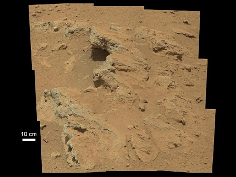"Remnants of Ancient Streambed on Mars: NASA's Curiosity rover found evidence for an ancient, flowing stream on Mars at a few sites, including the rock outcrop pictured here, which the science team has named ""Hottah"" after Hottah Lake in Canada's Northwest Territories. (Image credit: NASA/JPL-Caltech/MSSS)"