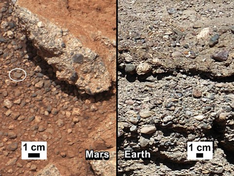 Rock Outcrops on Mars and Earth: This set of images compares the Link outcrop of rocks on Mars (left) with similar rocks seen on Earth (right). (Image credit: NASA/JPL-Caltech/MSSS and PSI)