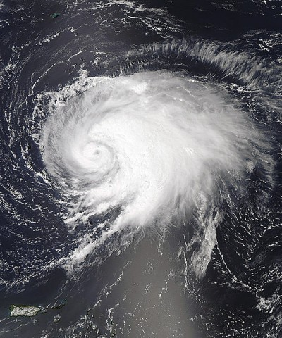 This visible image of Hurricane Leslie was captured by the MODIS instrument aboard NASA's Aqua satellite on Sept. 5 at 1:15pm EDT as the storm was approaching Bermuda. Leslie was just becoming a hurricane and its eye became visible. (Credit: NASA Goddard/MODIS Rapid Response Team)