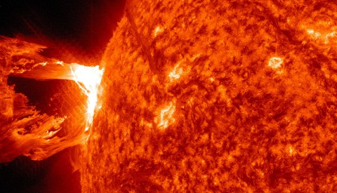 Scientists want to understand what causes giant explosions in the sun's atmosphere, the corona, such as this one. The eruptions are called coronal mass ejections or CMEs and they can travel toward Earth to disrupt human technologies in space. To better understand the forces at work, a team of researchers used NASA data to study a precursor of CMEs called coronal cavities. (Credit: NASA/Solar Dynamics Observatory (SDO))