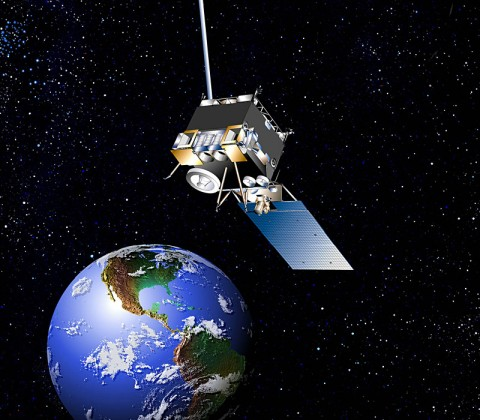 Artist's conception of the GOES-13 satellite. The Geostationary Operational Environmental Satellite known as GOES-13 became the official GOES-EAST satellite on April 14th, 2010. GOES-13 was moved from on-orbit storage and into active duty. (Credit: NASA)