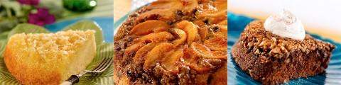 Pineapple Upside-Down Corn Meal Cake, Peachy Blueberry Upside-Down Cake and Chocolate Chocolate Chip Upside-Down Cake.