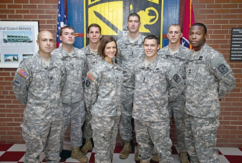 Cadets Juan Vega (from left), Theodore Sierminski, Sean Hunt (who received the Legion of Valor Award last month), Eryn Chauncey, David Bullard, Charlie Batchelor, Nathan Brewer and Jermaine Adams were noted as Distinguished Military Graduates on the order of merit list (OML) by the 2013 Army Cadet Command Accessions Board. (Photo by Beth Liggett, APSU photographer)