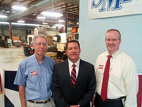 Ron Smithfield, NFIB member and co-owner of Smithfield Manufacturing in Clarksville, Mark Green, State Senate District 22 candidate, and Jim Brown, NFIB/Tennessee State Director.