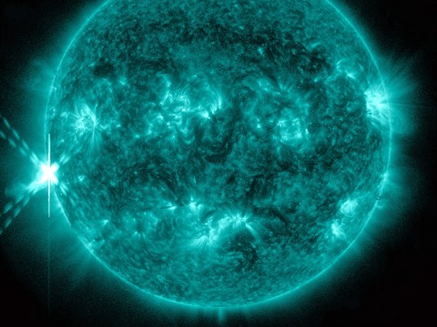 NASA's Solar Dynamics Observatory (SDO) captured this image of an M9-class flare on Oct 20th, 2012 at 2:14pm EDT. This image shows light at a wavelength of 131 Angstroms, which corresponds to material at 10 million Kelvin, and is a good wavelength for observing flares. This wavelength is typically colorized as teal, as shown here. (Credit: NASA/SDO)
