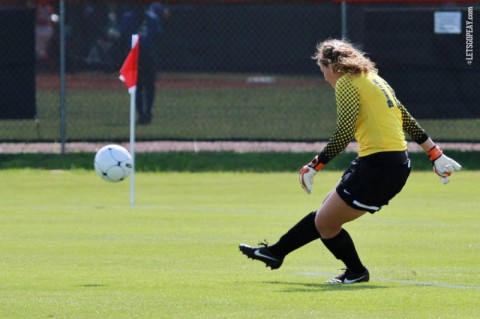 APSU Soccer's Haylee Shoaff makes eight saves for the Lady Govs Sunday afternoon. (Courtesy: Brittney Sparn/APSU Sports Information)
