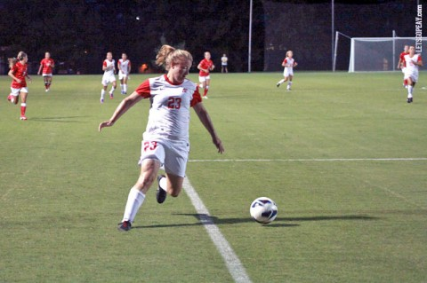 Austin Peay senior Emily Perkins hits the games only goal against Morehead State Friday night. Austin Peay Women's Soccer. (Courtesy: Brittney Sparn/APSU Sports Information)