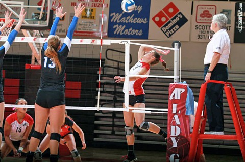 APSU Senior Nikki Doyle notched a school-record 34 kills in Austin Peay's five set victory against Middle Tennessee, Wednesday. (Courtesy: Brittney Sparn/APSU Sports Information)