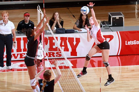 Senior Alex Sain's 11-kill performance helped Austin Peay down Eastern Illinois in three sets, Friday. (Courtesy: Brittney Sparn/APSU Sports Information)