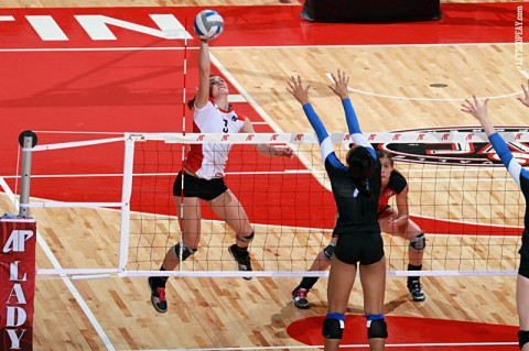 Senior Nikki Doyle posted 21 kills in APSU's victory against SIUE, Saturday, and finished the three-match week with 66 kills. (Courtesy: Brittney Sparn/APSU Sports Information)