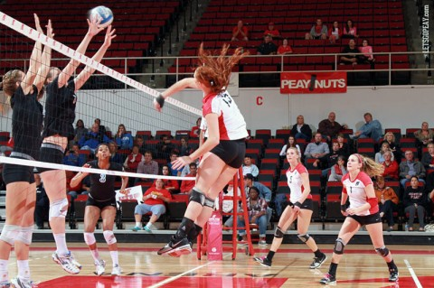 Sophomore Hillary Plybon recorded 13 kills and four blocks in Austin Peay's five set loss at Eastern Illinois, Saturday. (Courtesy: Brittney Sparn/APSU Sports Information)