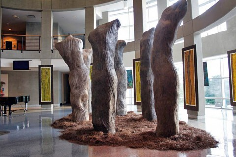 "Visitors to The Renaissance Center can't miss Alan LeQuire's impressive ""Dream Forest"" in the Rotunda, which they can walk amongst and read the ""dreams"" inscribed on the 12-foot high torso trees."