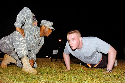 Sgt. Nicholas Johnson, U.S. Forces Korea Soldier of the Year, finishes the pushup portion of the Army Physical Fitness Test during the 6th Annual Department of the Army Best Warrior Competition, Oct. 3rd, 2011, at Fort Lee, VA.