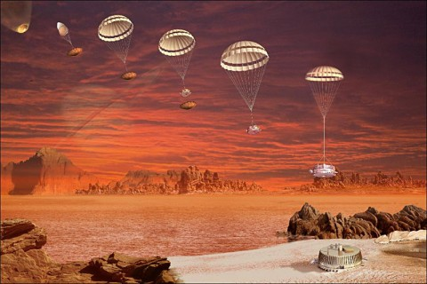 Artist concept showing the descent and landing of Huygens. (Image credit: NASA/JPL/ESA)