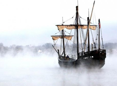In early morning fog, a replica of one of Christopher Columbus' ships, Nina, departs Maysville, Kentucky, where it was on tour.