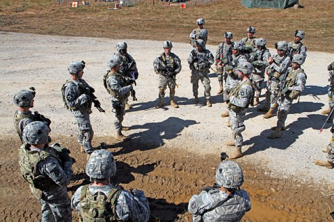 Soldier in the brigade's personal security detachment platoon with 4th Brigade Combat Team, 101st Airborne Division, receive a final convoy briefing before they begin the convoy live-fire lane, Oct. 15th, 2012, during the brigade's field exercise Eagle Flight III at Fort Campbell, KY. (Photo by Staff Sgt. Todd Christopherson)