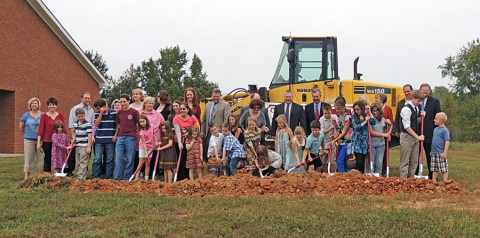 Students, family, faculty and staff at the Clarksville Christian School Ground Breaking.