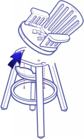 The high chair's seat can loosen or detach from the base, posing a fall hazard to the child.