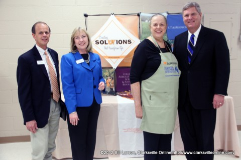 Dr. Tim Cross, dean of UT Extension; Dr. Shirley Hastings, associate dean and head of the Department of Family and Consumer Sciences; Martha Pile, UT Extension family and consumer sciences agent; and Agriculture Secretary Tom Vilsack during his visit to the Montgomery County Agricultural Extension Office
