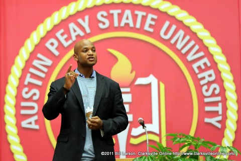 Author Wes Moore, giving the keynote address for the 2012 Peay Read at Austin Peay State University