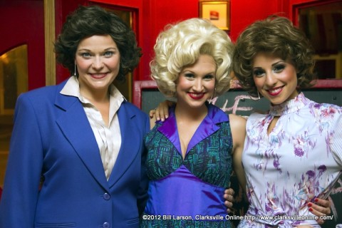 Amanda Morgan as Violet Newstead, the department supervisor; Bailey Hanks as as the vivacious Doralee Rhodes; and  Lital Abrahams as housewife turned secretary Judy Bernly