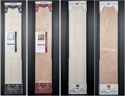 JELD-WEN Molded Panel Bifold, JELD-WEN Flush Natural Wood Grain Bifold, Reliabilt Molded Natural Wood Grain Bifold and Reliabilt Flush Natural Wood Grain Bifold doors are shown as packaged for retail outlets.