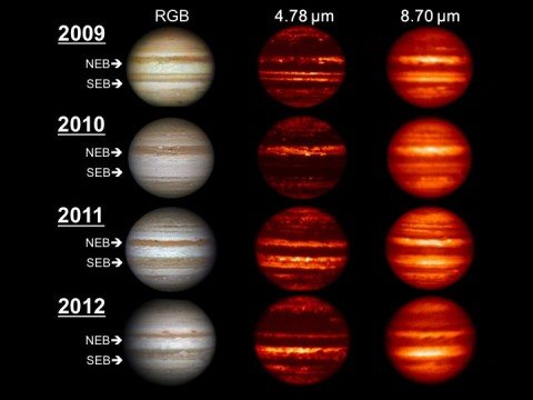 Images in the visible-light and infrared parts of the spectrum highlight the massive changes roiling the atmosphere of Jupiter. (Image credit: NASA/IRTF/JPL-Caltech/NAOJ/A. Wesley/A. Kazemoto/C. Go)