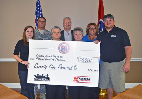 From Left: Melissa Messina, EANGTN representative; Command Sgt. Maj. George Holland, Senior Enlisted Leader; Betty Redmond, president of the EANGTN Auxiliary Soldier Airmen Relief Fund; Chris Hughes, Kangaroo Express regional sales director; Joan Goodrich, EANGTN Auxiliary Soldier Airman Relief Fund Secretary; Margaret Goodley, Kangaroo Express district sales manager; and Staff Sgt. Tommy Rieman, a National Guard Silver Star recipient.