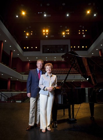 Drs. George and Sharon Mabry stand in the concert hall that will soon be renamed in their honor. (Photo by Beth Liggett/APSU).