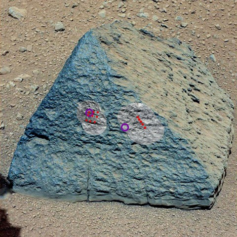"""This image shows where NASA's Curiosity rover aimed two different instruments to study a rock known as """"Jake Matijevic."""" (Image credit: NASA/JPL-Caltech/MSSS)"""