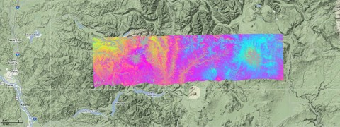 This UAVSAR interferogram shows active volcano Mount St. Helens (left) and dormant volcano Mount Adams, both in Washington state. The sensor collected data for this image during flights in July 2009 and August 2010 to compute the surface deformation that could indicate activity in the volcanoes' magma. No deformation was evident during this period. (NASA image)