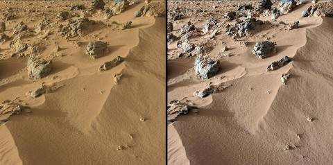 "This pair of images from the Mast Camera on NASA's Curiosity rover shows the upper portion of a wind-blown deposit dubbed ""Rocknest."" The rover team recently commanded Curiosity to take a scoop of soil from a region located out of frame, below this view. The soil was then analyzed with the Chemistry and Mineralogy instrument, or CheMin. (Image credit: NASA/JPL-Caltech/MSSS)"