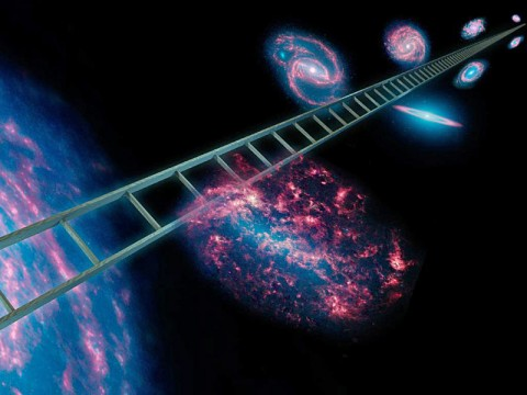 Astronomers using NASA's Spitzer Space Telescope have greatly improved the cosmic distance ladder used to measure the expansion rate of the universe, as well as its size and age. The cosmic distance ladder, symbolically shown here in this artist's concept, is a series of stars and other objects within galaxies that have known distances. (Image credit: NASA/JPL-Caltech)