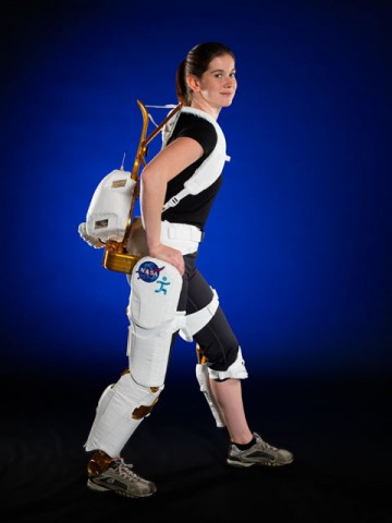 Project Engineer Shelley Rea demonstrates the X1 Robotic Exoskeleton. (Image courtesy of Robert Markowitz)