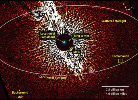 This visible-light image from the Hubble Space Telescope shows the vicinity of the star Fomalhaut, including the location of its dust ring and disputed planet, Fomalhaut b. A coronagraphic mask helped dim the star's brightness. This view combines two 2006 observations that were taken with masks of different sizes (1.8 and 3 arcseconds). (Credit: NASA/ESA/T. Currie, U. Toronto)