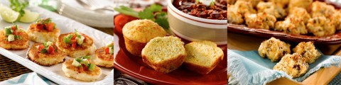 (L to R) Roasted Corn and Red Pepper Corn Cakes with Avocado Salsa, Sweet Cheese and Chile Corn Muffins and Sausage and Cheese Appetizer Biscuits.