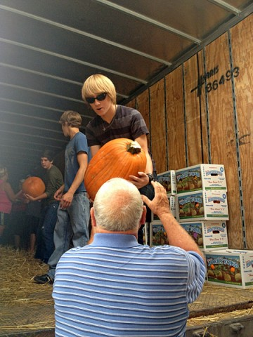 Pumpkins being unloaded.