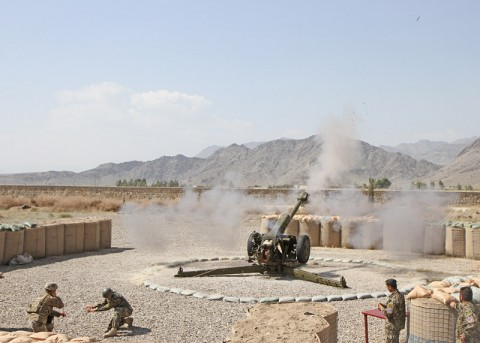 "Soldiers with the Afghanistan National Army's 4th Kandak, 1st Infantry Brigade, 203rd Afghan Army Corps, fire a Russian made D-30 122mm howitzer during a joint training live-fire exercise with soldiers from Battery A, 3rd Battalion, 320th Field Artillery Regiment, 3rd Brigade Combat Team ""Rakkasans,"" 101st Airborne Division (Air Assault), at Camp Clark, Oct. 13, 2012. (Photo by Sgt. 1st Class Abram Pinnington)"