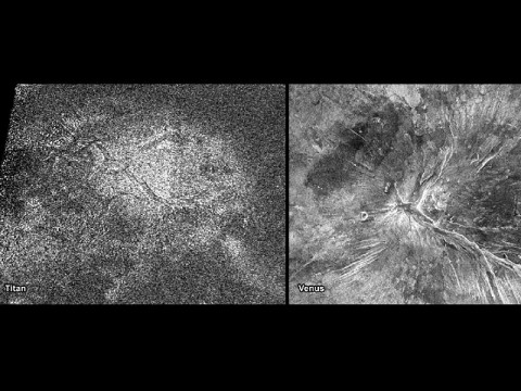NASA's Cassini spacecraft obtained this image of a feature shaped like a hot cross bun in the northern region of Titan (left) that bears a striking resemblance to a similar feature on Venus (right). (Image Credit: NASA/JPL-Caltech/ASI)