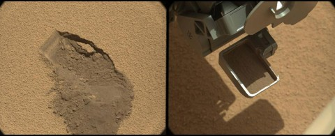 This pairing illustrates the first time that NASA's Mars rover Curiosity collected a scoop of soil on Mars. It combines two raw images taken on the mission's 61st Martian day, or sol (October 7th, 2012) by the right camera of the rover's two-camera Mast Camera (Mastcam) instrument. The right Mastcam, or Mastcam-100, has a telephoto, 100-millimeter-focal-length lens. (Image Credit: NASA/JPL-Caltech/MSSS)
