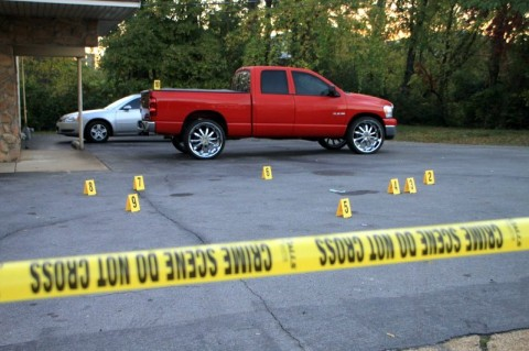 Several shell casings found on the lot and in the street at 415 North Second Street. (Photo by CPD-Jim Knoll)