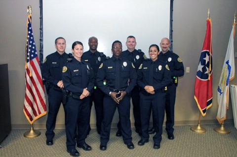 (Back row-L-R) Adam Bagwell, Leroy Johnson, Robert Blamer, Chris Bailey, (Front row-L-R) Brandy Marley, Tony Dillard, Deana Valarezo. (Photo by CPD-Jim Knoll)