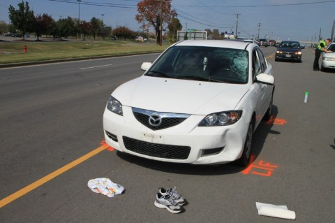 Mazda 3 that stuck and killed a pedestrian on Fort Campbell Boulevard Tuesday, October 16th. (Photo by CPD-Jim Knoll)